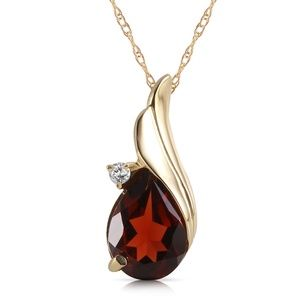 14K. SOLID GOLD NECKLACE WITH DIAMOND & GARNET